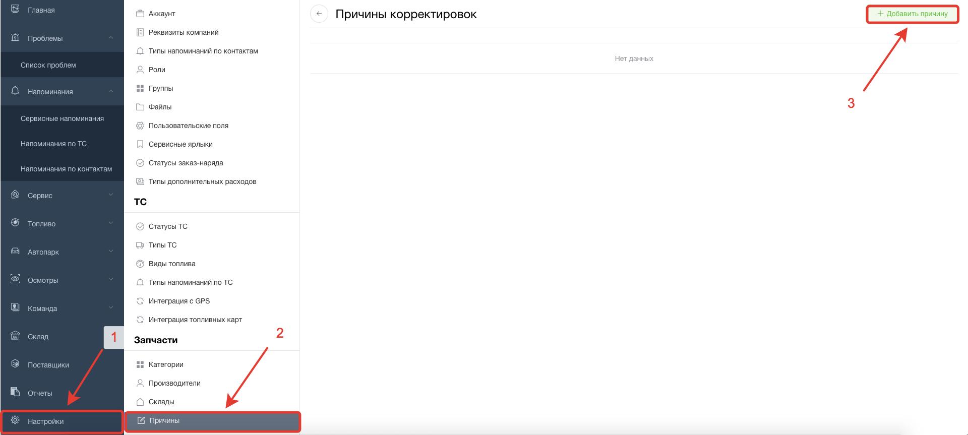 Причины корректировок запчастей в систему Завгар Онлайн